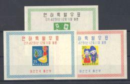 Corea Del Sur, Hoja Bloque. MNH **Yv 7A/C. 1958. Serie Completa, Hojitas Bloque. MAGNIFICA. Yvert 2013: 300 Euros. - Corea Del Sur