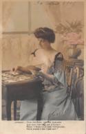 Carte CPA Fantaisie - Jolie Jeune Femme Avec Jeu De Cartes - Tirage Du Tarot Oracle Medium - 1908 - Mujeres