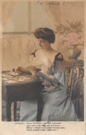 Carte CPA Fantaisie - Jolie Jeune Femme Avec Jeu De Cartes - Tirage Du Tarot Oracle Medium - 1908 - Femmes