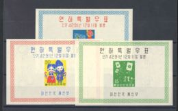 Corea Del Sur, Hoja Bloque. MNH **Yv 7A/C. 1958. Serie Completa, Hojitas Bloque. MAGNIFICA. Yvert 2013: 300 Euros. - Korea (Süd-)