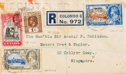 Ceilán. Sobre Yv 178, 234, 236, 238. 1935. 1 Cts, 2 Cts, 6 Cts Y 20 Cts. Certificado De COLOMBO A SINGAPUR. Al Dorso Lle - Sri Lanka (Ceilán) (1948-...)
