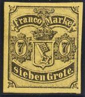 Bremen. MH *Yv 3. 1855. 7 G Negro Sobre Amarillo. MAGNIFICO. (Mi3a 300 Euros) - Sellos