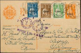 Azores, Entero Postal. Sobre Yv 164, 183, 187. 1925. 2 Cts Naranja Sobre Tarjeta Entero Postal De PUNTA DELGADA A LEIPZI - Sellos