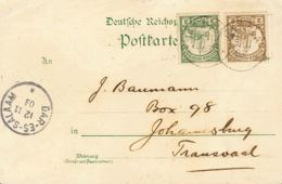 Africa Oriental Alemana. Sobre Yv 11, 12. 1903. 2 P Castaño Y 3 P Verde. Tarjeta Postal Ilustrada De TANGA A JOHANESBURG - Sellos