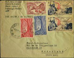 Africa Ecuatorial Francesa. Sobre Yv 218, 220, 225, Aéreo 55(2). 1953. Diversos Valores. FORT SIBUT (REPUBLICA CENTROAFR - A.E.F. (1936-1958)