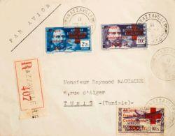 Africa Ecuatorial Francesa. Sobre Yv 165/66, A29. 1944. 5 C Y Aéreo + 200 Fr Sobre 10'75 Fr Violeta. Certificado De BRAZ - A.E.F. (1936-1958)
