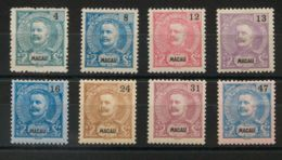 Macao. MH *Yv 83, 85, 87, 88, 90, 92/94. 1898. 4 Avos Verde Azul, 8 Avos Azul, 12 Avos Rosa, 13 Avos Lila, 16 Avos Azul, - Sin Clasificación