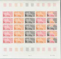 Níger, Aéreo. MNH **Yv 118(25). 1969. 200 F Multicolor, Hoja Completa De Veinticinco Sellos. ENSAYOS DE COLOR Y SIN DENT - Níger (1960-...)