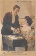 Carte CPA Fantaisie - Jolie Jeune Femme Avec Jeu De Cartes - Tirage Du Tarot Oracle Medium - 1908 - Donne