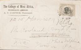 Liberia. Sobre Yv 53. 1900. 5 Ctvos Gris Y Negro. MONROVIA A PHILADELPHIA (U.S.A.). Matasello MONROVIA / LIBERIA, Al Dor - Liberia