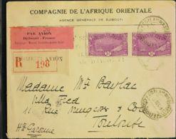 Costa De Somalia. Sobre Yv 136(2). 1931. 3 F Violeta Lila, Dos Sellos. Certificado De DJIBOUTI A TOLOUSE. Marca Del 1º V - Somalia (1960-...)