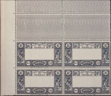 Costa De Somalia. MNH **Yv 168a(4). 1938. 10 F Azul, Bloque De Cuatro, Esquina De Pliego. CENTRO OMITIDO. MAGNIFICO Y RA - Somalia (1960-...)