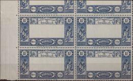 Costa De Somalia. MNH **Yv 168a(4). 1938. 10 F Azul, Bloque De Cuatro (con Parte Del Sello Superior). CENTRO OMITIDO. MA - Somalia (1960-...)