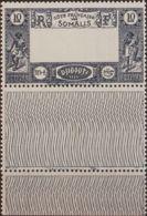 Costa De Somalia. MNH **Yv 168a. 1938. 10 F Azul. CENTRO OMITIDO. MAGNIFICO Y RARO. Yvert 2013: 500 Euros. - Somalia (1960-...)