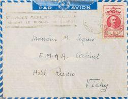 Costa De Somalia. Sobre Yv 162. 1941. 1 Fr Rosa Carmín. DJIBOUTI A VICHY (FRANCIA). En El Frente Marca SERVICES AERIENS - Somalia (1960-...)