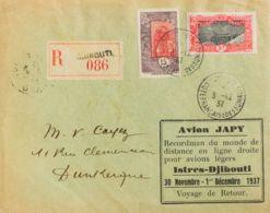 Costa De Somalia. Sobre Yv 88, 99. 1937. 15 Cts Voleta Y Rojo Y 5 Fr Rojo Y Negro. Correo Aéreo Certificado De DJIBOUTI - Somalia (1960-...)