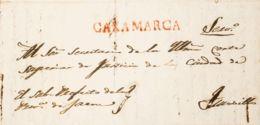 Perú, Prefilatelia. Sobre Yv . 1829. CAJAMARCA A TRUJILLO. Marca CAXAMARCA, En Rojo (Colareta 1). MAGNIFICA. - Perú