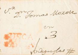 "Perú, Prefilatelia. Sobre Yv . 1829. HUANCAVELICA A ANDAGUAYLAS. Marca GUANCA / VELICA Y Porteo ""3"" Manuscrito (se Trata - Perú"