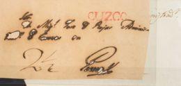 """Perú, Prefilatelia. Sobre Yv . (1837ca). Dos Frontales De CUZCO A PUNO, Ambos Con Marcas CUZCO (Colareta 8) Y Porteo """"2 - Perú"""