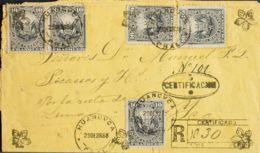 Perú. Sobre Yv 79(5). 1888. 10 Ctvos Gris Negro, Cinco Sellos. Certificado De HUANCAVELICA A YCA. Matasello HUANCVCA / P - Perú