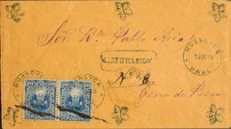 Perú. Sobre Yv 80(2). 1888. 20 Ctvos Azul, Pareja. Certificado De HUANCAYO A CERRO DE PASCO. Matasello HUANCVCA / PRAL, - Perú