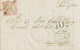Perú. Yv 86. 1864. 1 D Rosa. CALLAO A NUEVA YORK (U.S.A.). Matasello PAID TO / PANAMA Y En El Frente Fechador Doble Arco - Perú