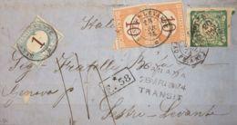 Perú. Sobre Yv 13. 1874. 1 Dinero Verde. LIMA A SESTRI LEVANTE (ITALIA). Matasello Fechador LIMA Y Octogonal Francés PAN - Perú