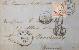 Perú. Sobre Yv 8b. 1864. 1 Dinero Rosa. ARICA A BURDEOS (FRANCIA). Matasello Oval De Puntos ARICA Y Fechador De La Agenc - Perú
