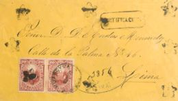Perú. Sobre Yv 23(2). 1879. 20 Ctvos Carmín, Pareja. Certificado De HUANCUCA A LIMA (PERU). Matasello Fechador HUANCUCA, - Perú