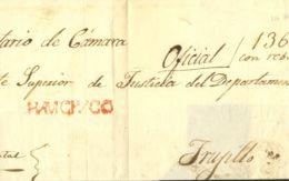 Perú. Sobre . 1851. HUAMACHUCO A TRUJILLO. Marca HUAMACHUCO, En Rojo (Colareta 1). MAGNIFICA Y RARA. - Perú