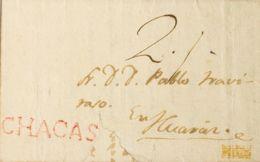 Perú. Sobre . 1823. CHACAS A HUARAZ. Marca CHACAS, En Rojo (Colareta 1). MAGNIFICA. - Perú