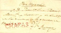 Perú. Sobre . (1808ca). CHACAS A ABANCAY. Marca CHACAS, En Rojo (P.E. 1) Y (Colareta 1). MAGNIFICA Y RARA. - Perú