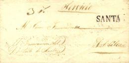 Perú. Sobre . 1845. SANTA A PATIVILCA. Marca SANTA (Colareta 1). MAGNIFICA. - Perú