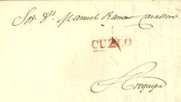 Perú. Sobre . 1834. CUZCO A AREQUIPA. Marca CUZCO, En Rojo (Colareta 7). MAGNIFICA Y RARA. - Perú