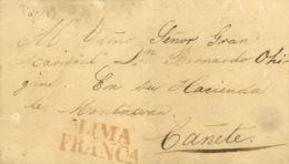 Perú. Sobre . (1839ca). LIMA A CAÑETE. Marca LIMA / FRANCA (Colareta 17), Manchas De Humedad. - Perú
