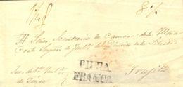 Perú. Sobre . (1857ca). PIURA A TRUJILLO. Marca PIURA / FRANCA (Colareta 6f). MAGNIFICA Y RARA. - Perú