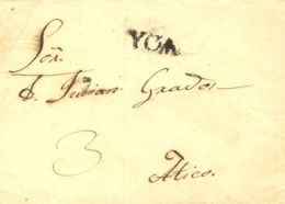 Perú. Sobre . (1836ca). ICA A ATICO. Marca YCA, En Negro (Colareta 2). RARA. - Perú