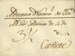 Perú. Sobre . (1836ca). Frontal De ICA A CAÑETE. Marca YCA, En Negro (Colareta 2). RARA. - Perú
