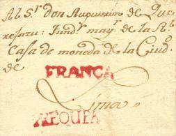 Perú. Sobre . 1793. AREQUIPA A LIMA. Marca AREQUIPA, En Rojo (P.E. 1), (Colareta 1) Y FRANCA, En Rojo (P.E. 4), (Colaret - Perú