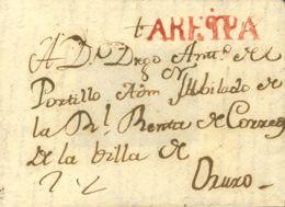 Perú. Sobre . 1820. Frontal De AREQUIPA A ORUJO. Marca AREQPA, En Rojo (P.E. 3), (Colareta 3). MAGNIFICA Y RARA. - Perú