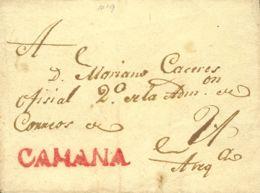 Perú. Sobre . (1820ca). CAMANA A AREQUIPA. Marca CAMANA, En Rojo (Colareta 1). MAGNIFICA. - Perú