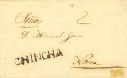 Perú. Sobre . (1836ca). CHINCHA A NASCA. Marca CHINCHA, En Negro (Colareta 1). MAGNIFICA. - Perú