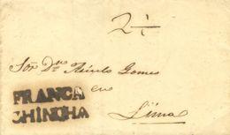 Perú. Sobre . (1850ca). CHINCHA A LIMA. Marca FRANCA / CHINCHA, En Negro, No Reseñada. MAGNIFICA. - Perú