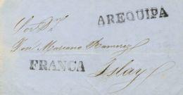 Perú. Sobre . 1853. AREQUIPA A ISLAY. Marca AREQUIPA (Colareta 5) Y FRANCA (Colareta 5f). MAGNIFICA. - Perú
