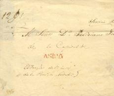 Perú. Sobre . 1844. ANDAHUAYLAS A AYACUCHO. Marca ANDAG, En Rojo (Colareta 2). MAGNIFICA Y RARISIMA. - Perú