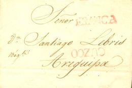 Perú. Sobre . 1829. CUZCO A AREQUIPA. Marca CUZCO, En Rojo Y FRANCA, En Rojo (Colareta 5f). MAGNIFICA Y RARA. - Perú