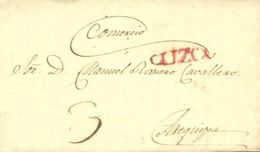 Perú. Sobre . 1832. CUZCO A AREQUIPA. Marca CUZCO, En Rojo (Colareta 5). MAGNIFICA. - Perú