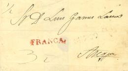 Perú. Sobre . (1832ca). CUZCO A AREQUIPA. Marca CUZCO, En Rojo Débilmente Estampada (Colareta 5) Y FRANCA, En Rojo (Cola - Perú