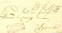 Perú. Sobre . 1840. HUANCAVELICA A AYACUCHO. Marca HUANCA / VELICA, En Rojo (Colareta 3). MAGNIFICA Y RARA. - Perú