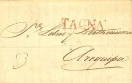 Perú. Sobre . (1831ca). TACNA A AREQUIPA. Marca TACNA, En Rojo (Colareta 2). MAGNIFICA. - Perú